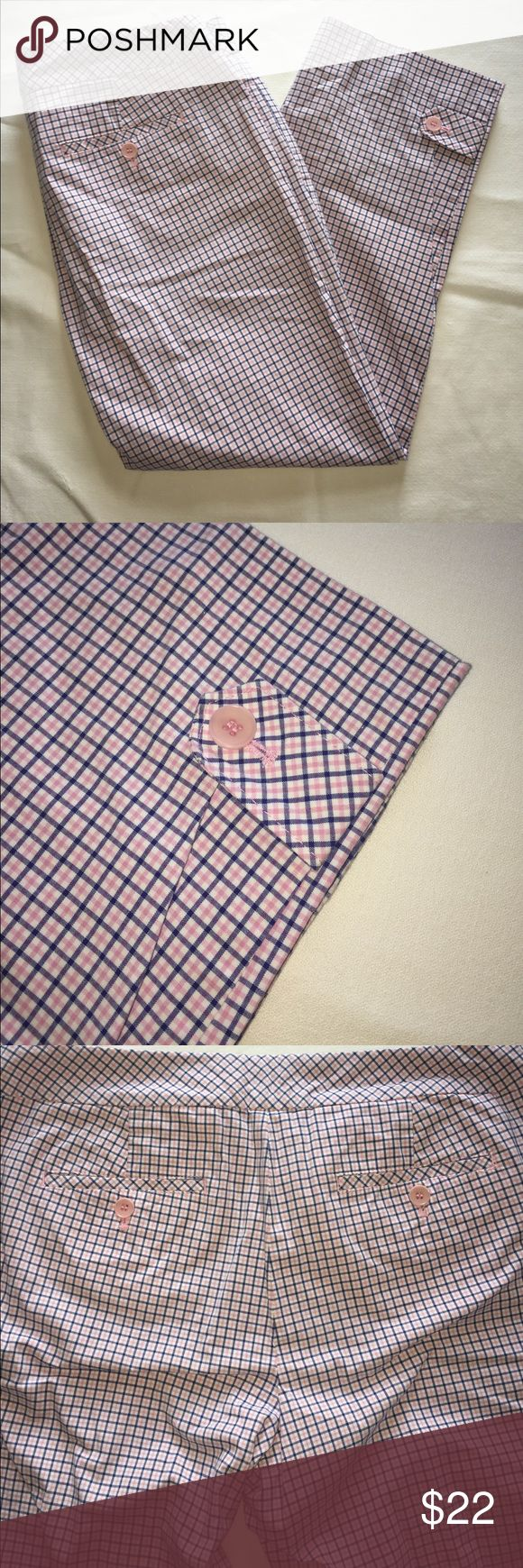 "Talbots Capri Size 8 In excellent condition. These capris are pink, blue and white plaid. There are two front and two shallow back pockets. These zip up the front. Inseam measures 23"" and the rose is 9 1/2"". Talbots Pants Capris"