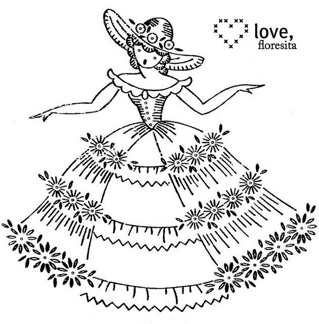 crinoline lady #3 by floresita's transfers, via Flickr: Floresita Transfer, Embroidery Patterns, Flickr Free, Vintage Transfer, Feminine Mystique Vintage, Crinolin Ladies, Embroidery Appliques Patterns, Free Patterns, Sunbonnet