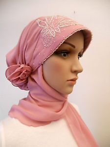 Hijab Scarf Bonnet with Sequin Design- One Piece Slip On