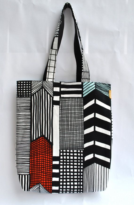 Hilly G./minthouse - Marimekko Ruutukaava Geometric Lines Tote