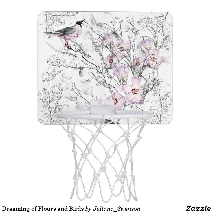 Mini #basketball hoop designed with #romantic #floral pattern made of black and white sketches of plants mixed with color 18th century #illustrations of pink #flowers and a pink and silver bird. #feminine