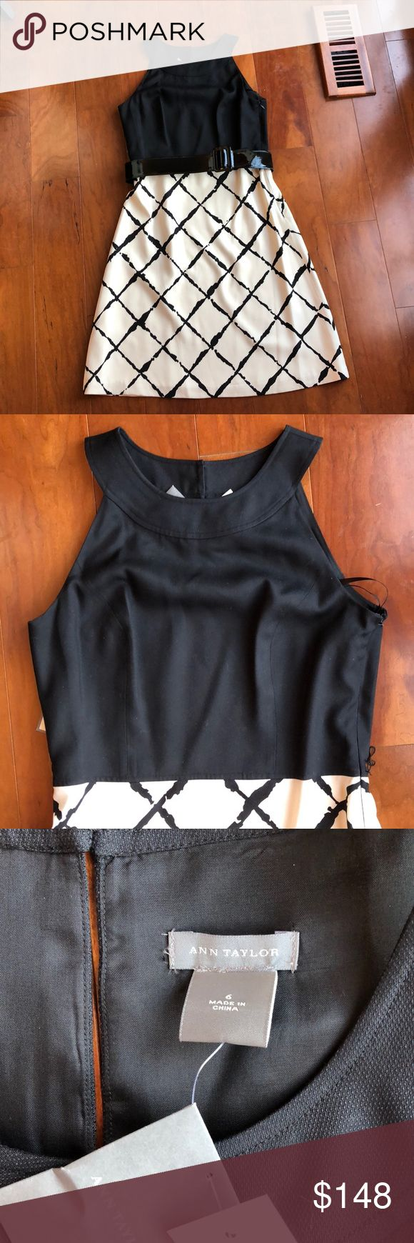NWT ANN TAYLOR BLACK AND WHITE SILK DRESS, SIZE 6 New with tags. Ann Taylor Black and White Silk Dress with removable black belt, Size 6. This 100% Silk Dress features a solid black bodice with a check board pattern skirt. Belt breaks bodice from skirt portion of dress. Dress is sleeveless with a scoop collar and three small buttons in back.  Side zipper. Lined. Ann Taylor Dresses Strapless