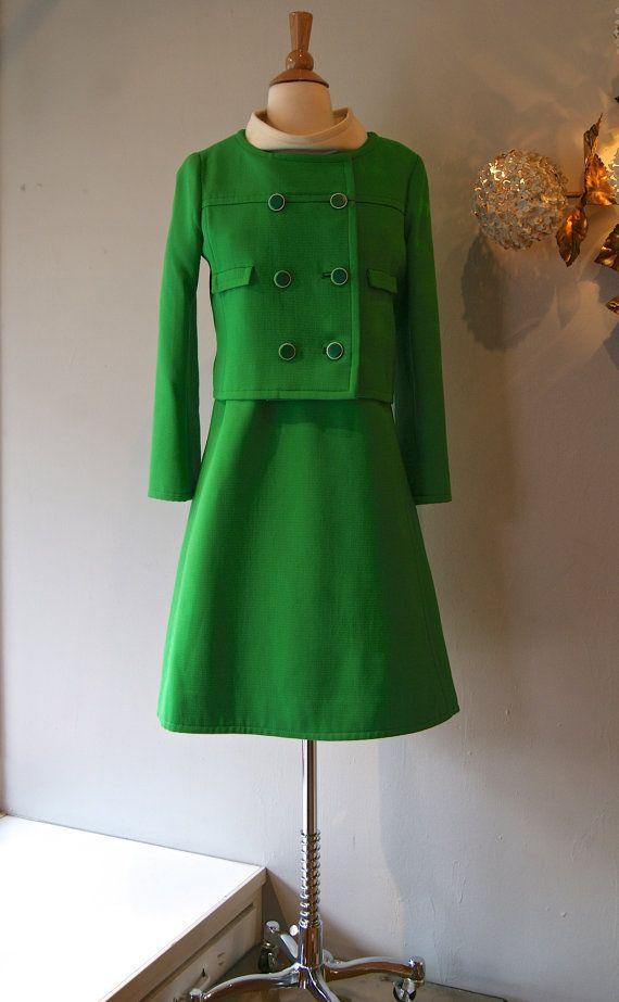 Vintage 60s Mod Dress 1960 S Samuel Robert Green Dress