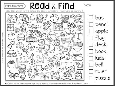 Read & Find - First Day of School Printable  Giving students an easy independent activity to start as soon as they arrive on the first day of school is a great way to calm their nerves. It also allows you to focus on greeting new students and getting supplies organized and put away. Here is a great first day of school printable that students can begin working on right away! Visit my blog to read about it and get the free download!  3-5 back to school First Day of School k-1 PK-2 reading