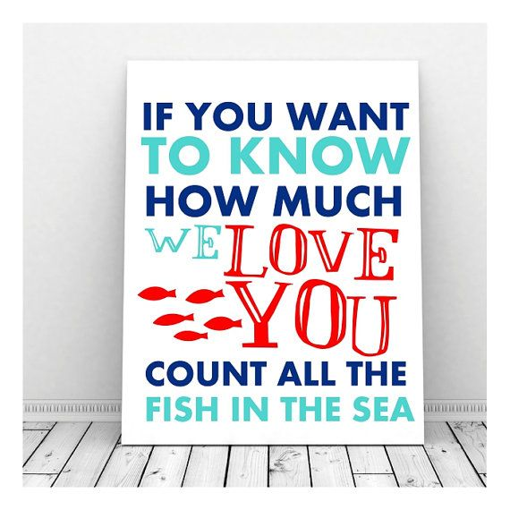 How Much I Love Your Nursery Decor,  Nautical Nursery Art, Boy Nursery Art, Instant Digital Download, Count All The Fish, Ocean Nursery Art