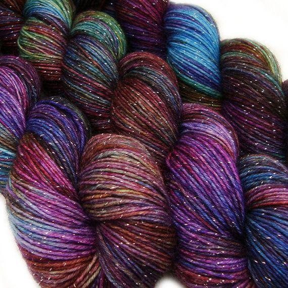 DESTINATIONS glitter sock yarn MUMBAI hand dyed sw merino nylon stellina 3.5oz 435 yards op Etsy, 16,70 €
