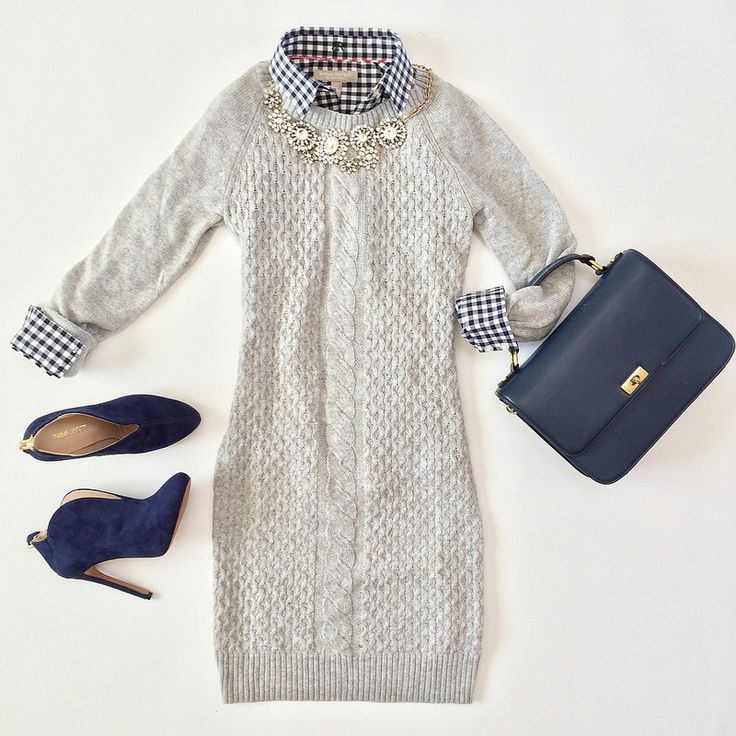 Outfit Layout - Grey Cable Sweater Dress and Gingham