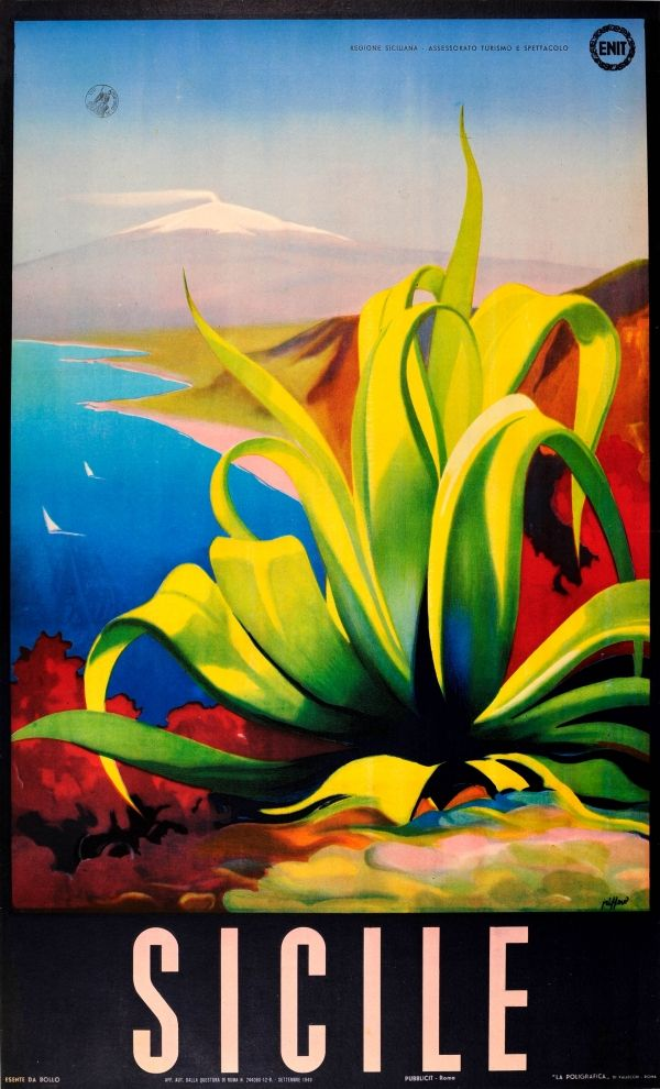 Original Vintage Posters -> Travel Posters -> Sicily Italy ENIT - AntikBar