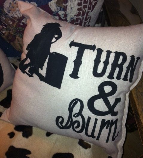 Rodeo Turn And Burn Pillow Horse Decorationswestern Decorationscowgirl Roombarrel Racingvintage