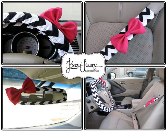 Custom Steering Wheel Cover, Mirror Cover and Seatbelt Cover with Matching Bow
