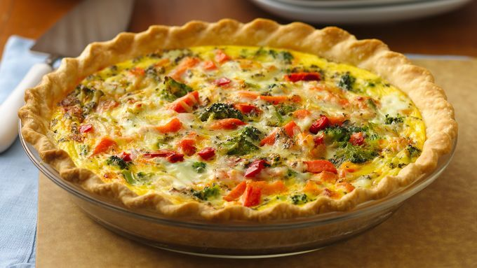 Bake up a cheesy quiche loaded with colorful, good-for-you veggies.