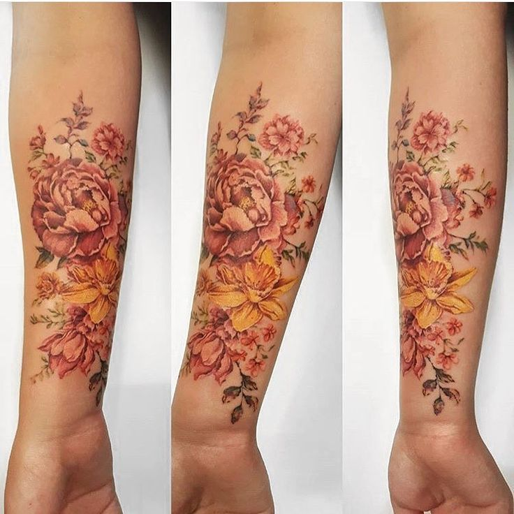 Flowers on the forearm by Amber (@amberrobyntattoos) done at Chronic Ink Tattoo - Toronto, Canada