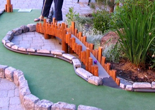 Miniature golf, but great idea to use in small scale in a miniature garden. squaw.com