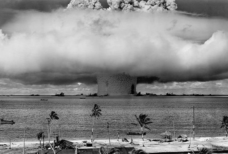 CASTLE BRAVO WAS A CODE NAME OF FIRST TEST BOMB THERMONUCLEAR DRY HYDROGEN FUEL, DETONAED ON MARCH 1 OF 1954 AT BIKINI ATOLL, MARSHALL ISLANDS. CASTLE BRAVE WAS THE MOST POWERFUL NUCLEAR WAPON DETONATED BY THE UNITED STATES. THIS EXPLOTION WAS A YIELD FIFTEEN MEGATONS, IS SAY FIFTEEN MILLION OF TONS OF TNT. THE ENERGY RELEASED BY EXPLOTION OF EVERY  GRAM OF TNT CORRESPONDING  4184 JOULES.