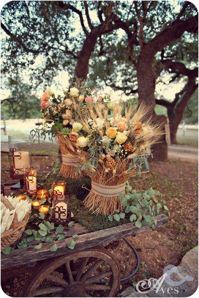 Good wedding decor ideas with wheat for shabby chic wedding. Anthropologie style. Sooo pretty.