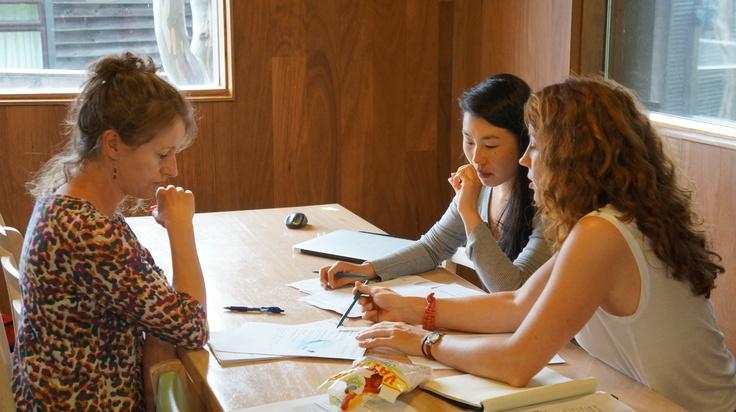 Prue, Caroline and Karina plan for 2013 at Mt Hotham