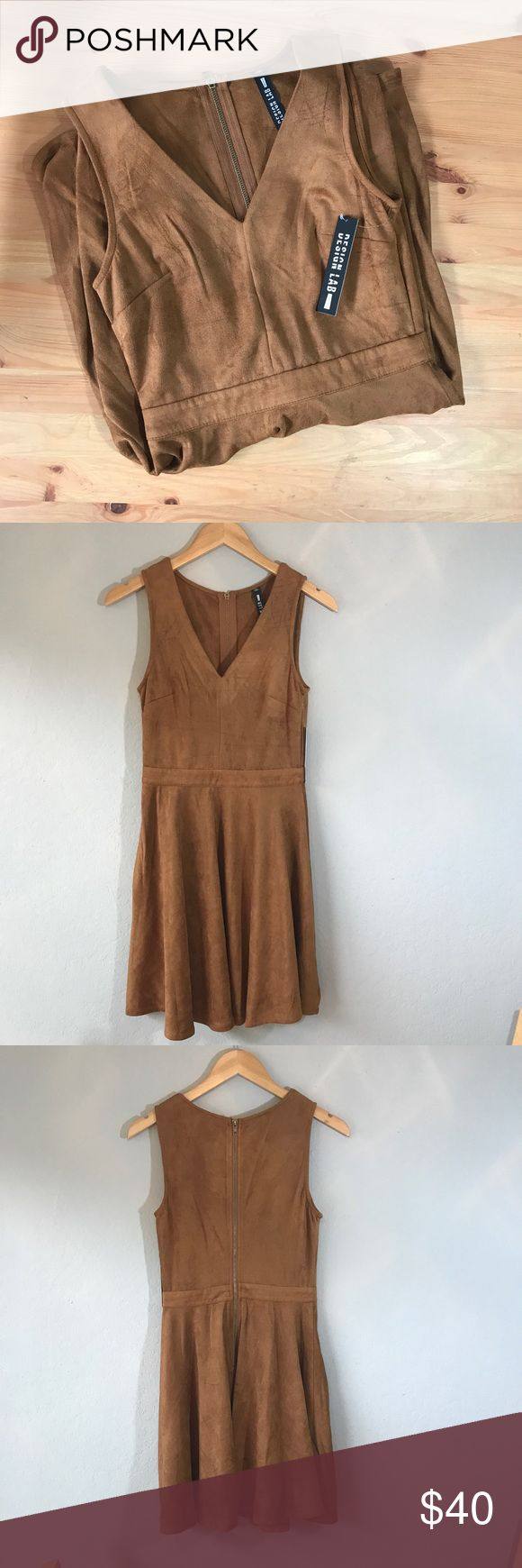 "Design Lab Suede Swing Dress [small] Design Lab by Lord and Taylor super soft and bouncy suede swing/skater dress with v plunge neckline. Camel brown with zipper down the back. Size small. Great color for fall transition! 90% polyester 10% spandex.   Approximate measurements  Bust 15"" Waist 13"" Length 34""  All of my items ship out within 1 day! (Item #016) Lord & Taylor Dresses"
