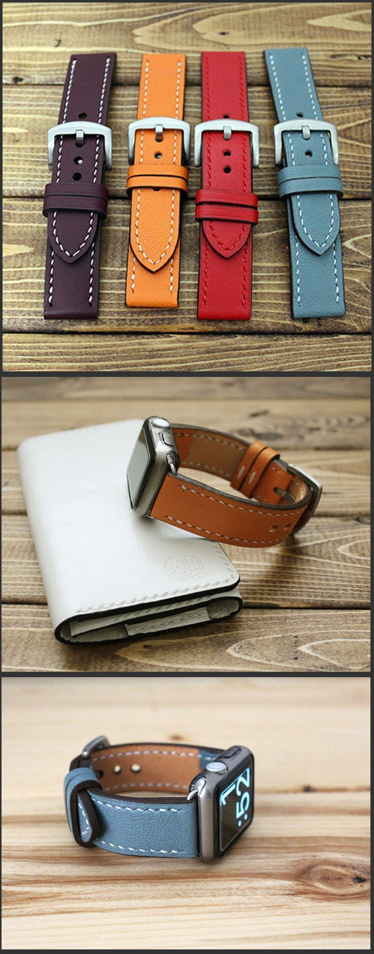 Apple Watch strap band in vegetable tanned Italian leather and caviar pattern embossed calf leather. Gorgeous color! Apple Watch Band, Hand Stitched Apple Watch strap. iWatch 38mm, iWatch 42mm replacement strap, Made with  All 4 lugs, gold, rose gold, bla