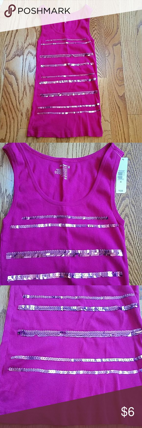 Pink sequin tank top NWT, Old Navy sequin tank. Size M, Old Navy Tops Tank Tops