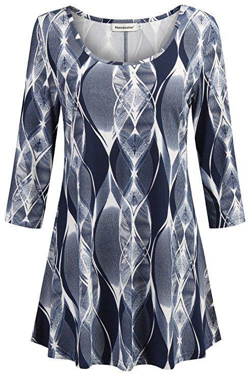8605ab7f8da Amazon.com: Nandashe Womens 3/4 Sleeves Floral Tunic Shirts Summer Casual  Dressy Blouse Tops: Clothing