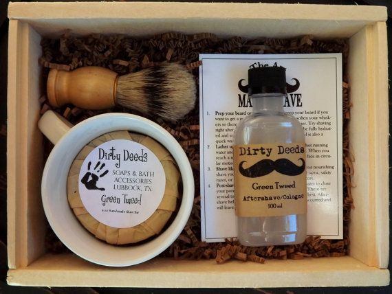Men's Shave Set in Deluxe Wood Box with Aftershave/Cologne,  Boar Brush, Mens Grooming
