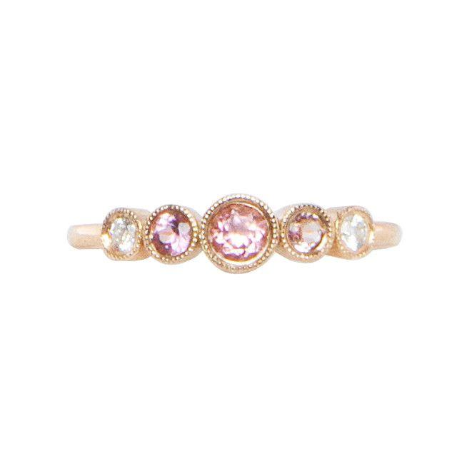 14kt rose gold pink to white tourmaline Constellation ring – Luna Skye by Samantha Conn