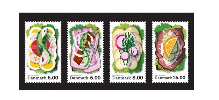 Art of Danish smørrebrød on postage stamps