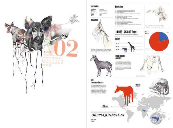 okapi, infographic design, calendar, animal, cryptozoology, illustration, watercolor #ElementEdenArtSearch