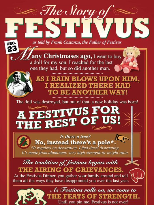 "There's Hanukkah, Christmas, Kwanzaa...and then there's Festivus ""for the rest of us."" Pandora to launch Seinfeld-inspired 'Festivus' station..."