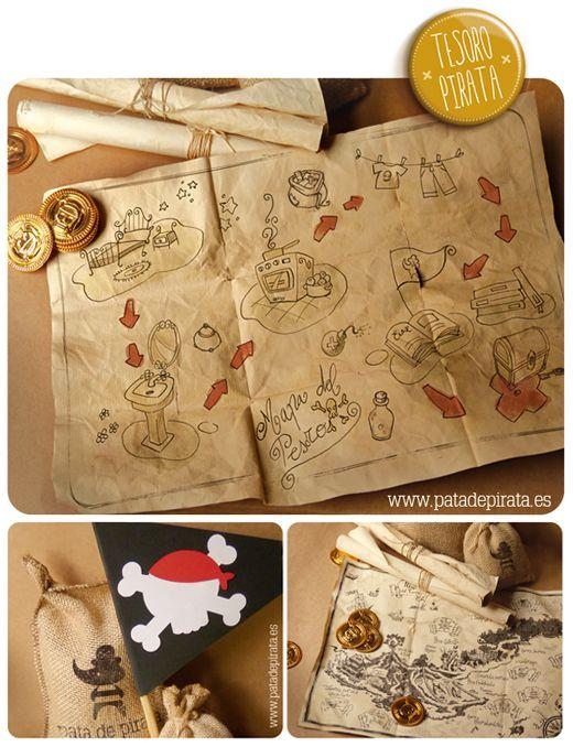 Ilustración, orlas, Invitaciones bautizo, comunión, cumpleaños, diseño grafico: Tesoro pirata