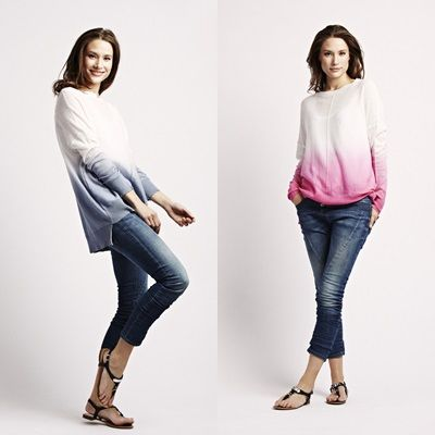 A trend, that is worth following .. the Dip Die Sweater from Florence Design in pink/ blue.