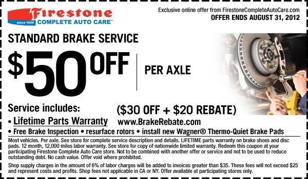 $50 Off ($30 Off + $20 Rebate) Standard Brake Service + Free Brake Inspection In-store Printable Firestone Coupon