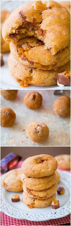 Snickers-Stuffed Snickerdoodle Cookies. Rolled in cinnamon-sugar and baked to soft & chewy perfection!