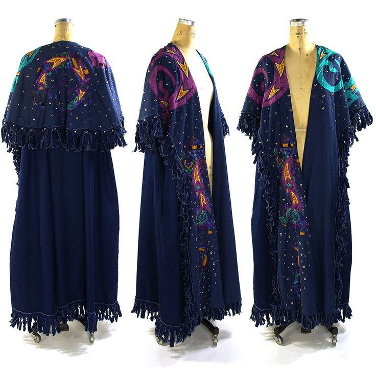 1980s Southwestern Duster / Vintage Handmade Fringed Maxi Length Vest with Native American Inspired Applique Cape / Studded Denim Trench by SpunkVintage