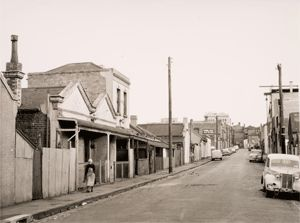 Atherton Street looking south towards Gertrude Street, from Webb Street, Fitzroy, late 1950s. Source: JL O'Brien Collection, University of Melbourne Archives
