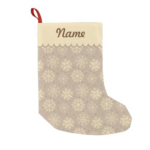 Personalized Christmas Latte Snowflake Pattern Stocking. Designed by Kristy Kate www.kristykate.com.