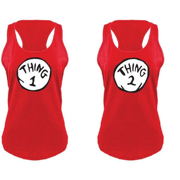 Thing 1 One & Thing 2 Two Red Womens Tank Top Gathered Racer Back Nice... ($17) ❤ liked on Polyvore featuring tops, grey, tanks, women's clothing, red racerback tank top, grey tank, red tank top, gray tank and grey racerback tank