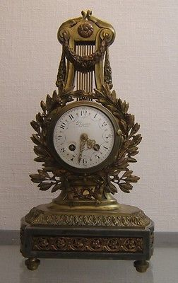DENIERE-PARIS-Louis-XVI-th-period-French-antique-mantel-clock-of-lyre-form