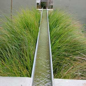 """""""Parting the waters."""" So simple, so effective. Rill water feature in painted steel passes through/over bed planted with Miscanthus sinensis 'Morning Light', if I had to guess. Which I do."""