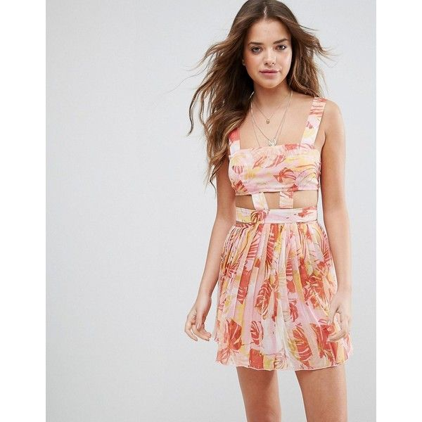 ASOS Beach Cut Out Chiffon Dress in Pink Palm Print (£30) ❤ liked on Polyvore featuring dresses, multi, chiffon dress, chiffon prom dresses, beach party dresses, cut out prom dresses and asos dresses
