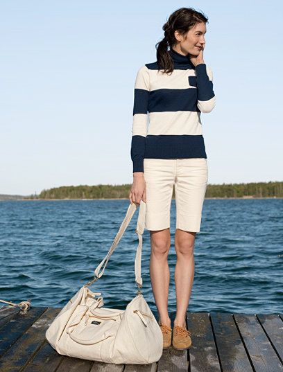 White bermuda shorts and wide mariner stripes...