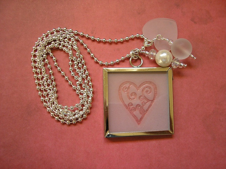 Etched Heart - Silver Ball Chain with Microscope Slide Pendant, via Etsy.