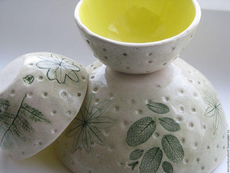 """Купить Пиалы и чаша """"Лимонное настроение"""" набор, керамика - лимонный, лимонно-желтый, зеленый"""