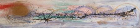 'Saint Simons Island' 12″x48″ Acrylic, spray paint, house paint and ink on woodpanel
