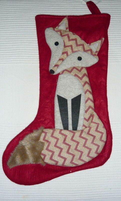GISELA GRAHAM FOX LARGE CHRISTMAS STOCKING