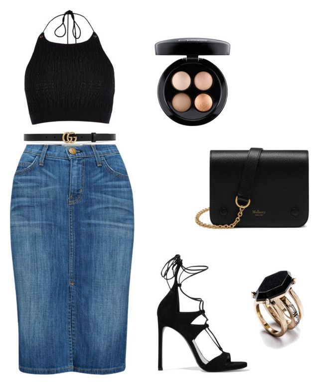"""""""Day to Night Black/Gold"""" by zarastylinghq on Polyvore featuring Current/Elliott, River Island, Stuart Weitzman, Gucci, MAC Cosmetics and Mulberry"""
