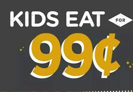 Kids eat for 99¢ at Applebee's:  At participating Applebee's kids eat for 99¢ on Tuesday. Yes for only 99¢. Kids can choose from a variety of options from their own special menu.  For valid times and locations visit our website or use this link  http://www.livelifehalfprice.com/activity-discounts/kids-eat-for-99-cents-every-tuesday-at-applebees/