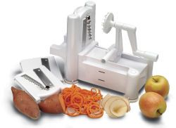 Spirooli Spiral Vegetable Slicer--awesome for raw food diets!  Sheds, slices, chops and makes noodles from veggies!