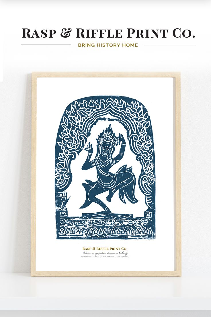 Khmer Apsara Dancer Relief Art Print in Indigo, Original ...