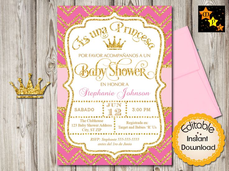 28 best spanish baby shower invitations images on pinterest spanish baby shower princess invitation girl hot pink and gold chevron instant download editable adobe reader diy printable 5x7 filmwisefo Images